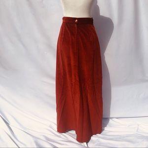 Skirts - Vintage thick velvety rust maxi skirt